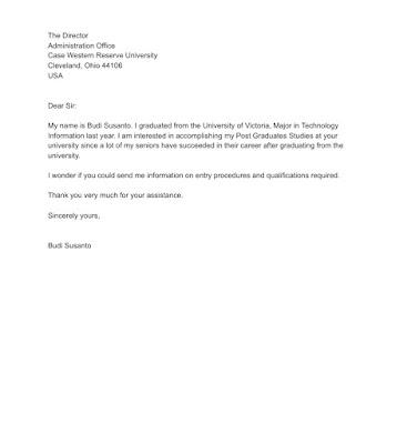 Post Graduates Request Letter Sample