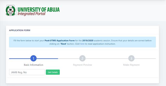 UNIABUJA Post-UTME / DE Admission Screening Form 2019/2020