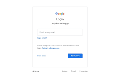 Login Blogger memakai Gmail
