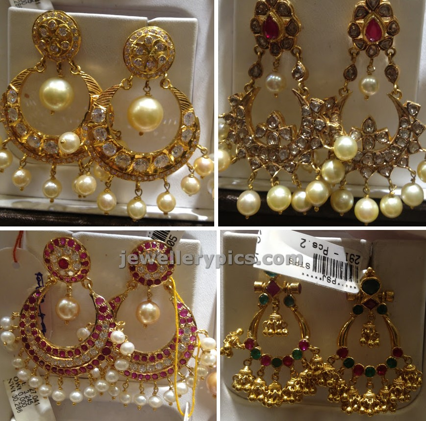 Indian chandbali earring designs with moon