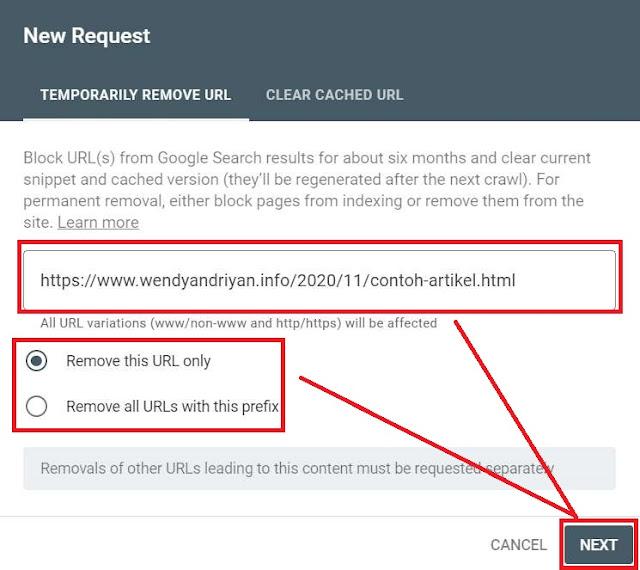 Masukan URL Artikel Yang Ingin Dihapus