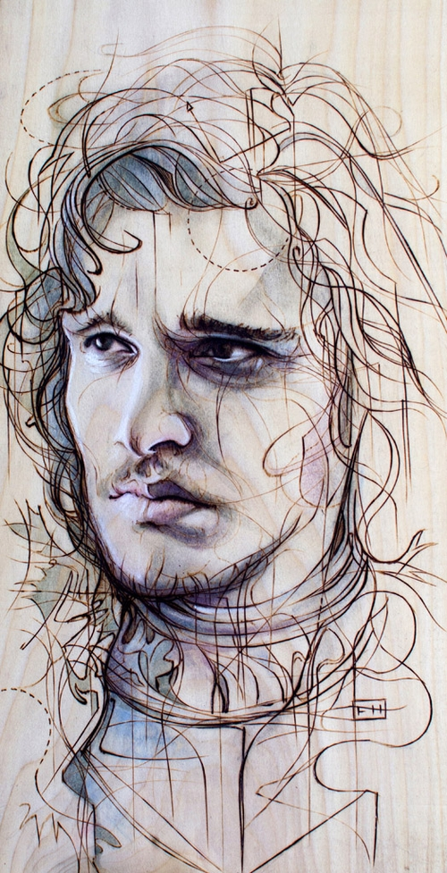 02-Jon-Snow-Kit-Harington-Fay-Helfer-Pyrography-Game-of-Thrones-and-other-Paintings-www-designstack-co