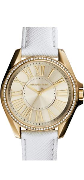 Michael Kors 'Kacie' Crystal Bezel Leather Strap Watch