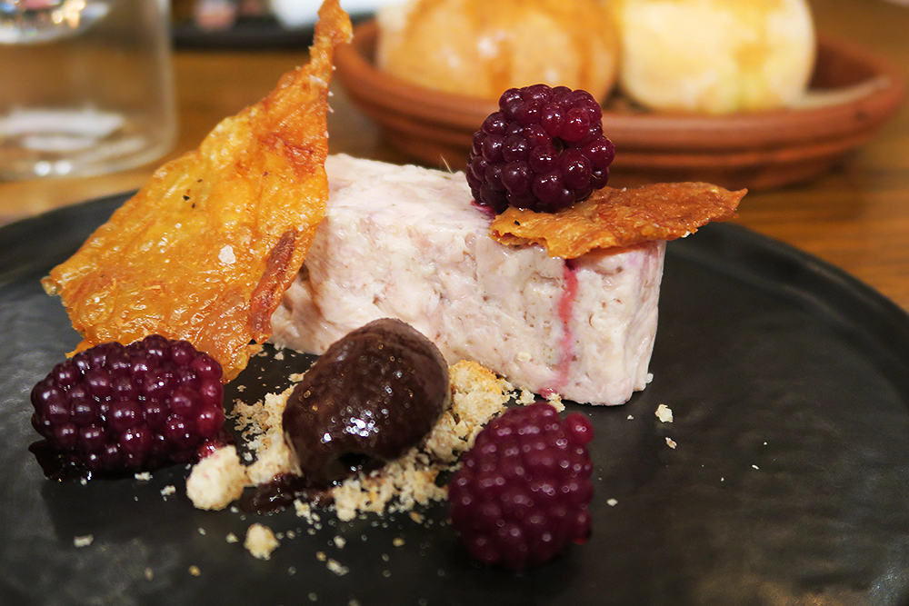 Chicken and truffle terrine, with chocolate and blackberries at Firelake in Radisson Blu, Leeds