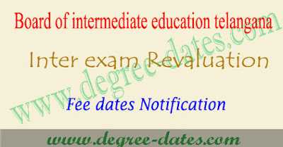 TS inter revaluation fee dates application 2017 1st 2nd year recounting details