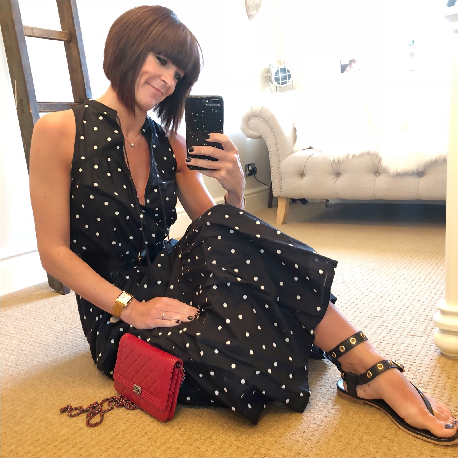 my midlife fashion, j crew maxi polka dot dress, and other stories waist buckle belt, chanel wallet on chain, iro eyelet embellished leather sandals