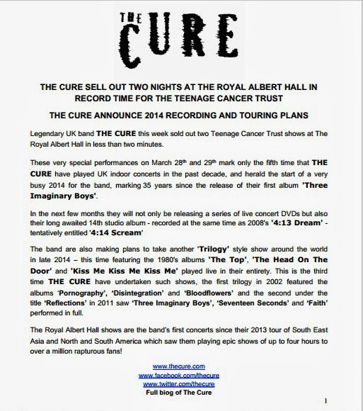 Chain of flowers cure announce live dvds album trilogy for Artist press release template