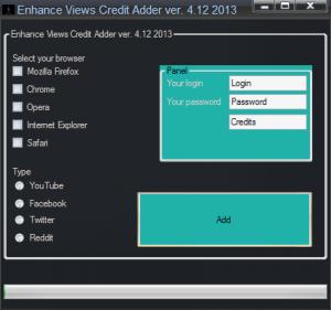 screenshot EnhanceViews Credit Hack 2013