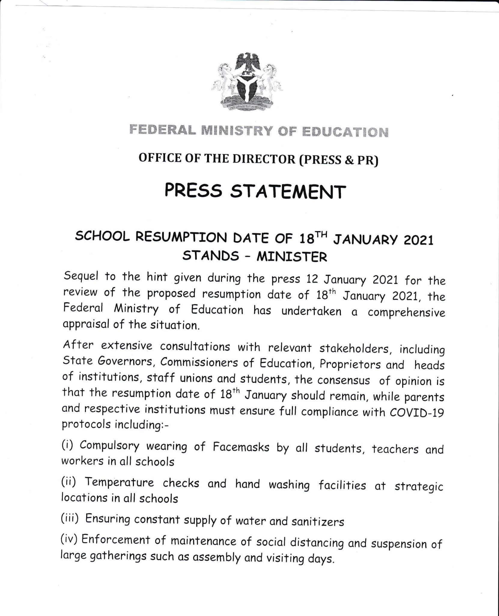 Official Schools Resumption Date 2021 [36 States Nationwide]