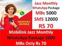 Jazz Package, Jazz Internet Package, Jazz Monthly Packages, Jazz Monthly Internet Package, Jazz WhatApp Package, Jazz Monthly WhatsApp Package