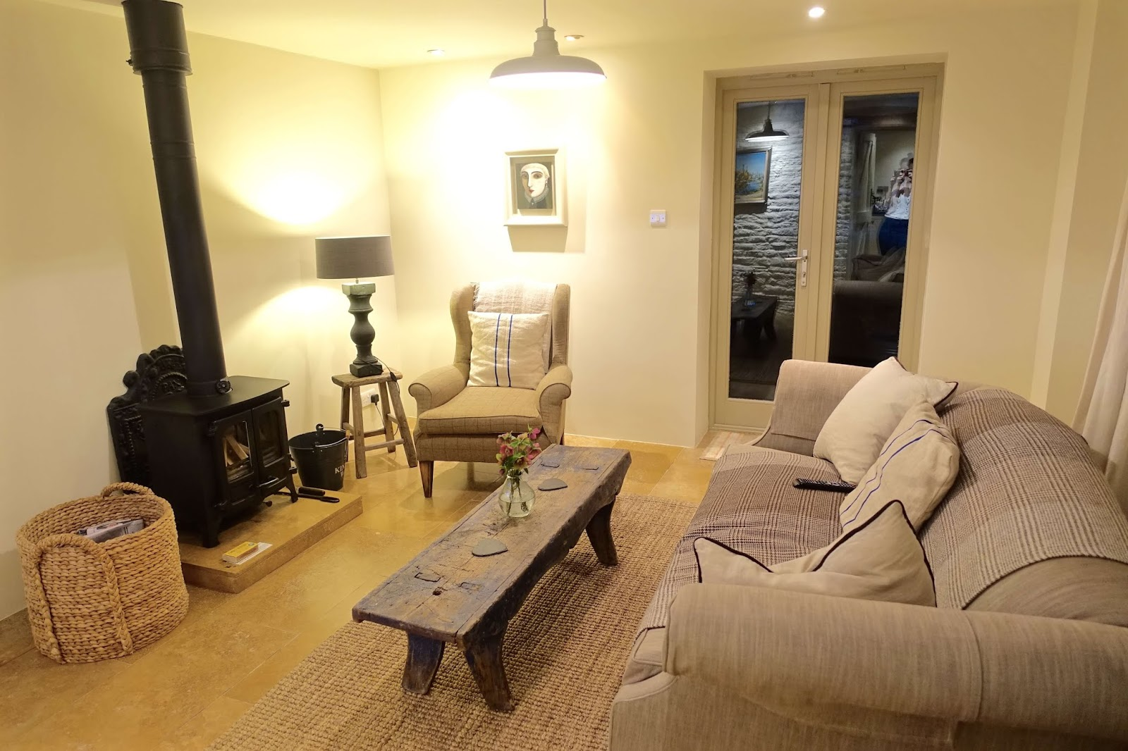 yew tree barn living room with wood burning stove