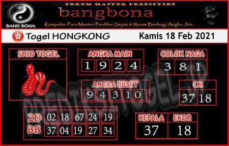 Prediksi HK Bangbon Kamis 18 Februari 2021