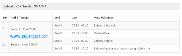 Jadwal Ujian Nasional Susulan SMA T.A 2019/2020