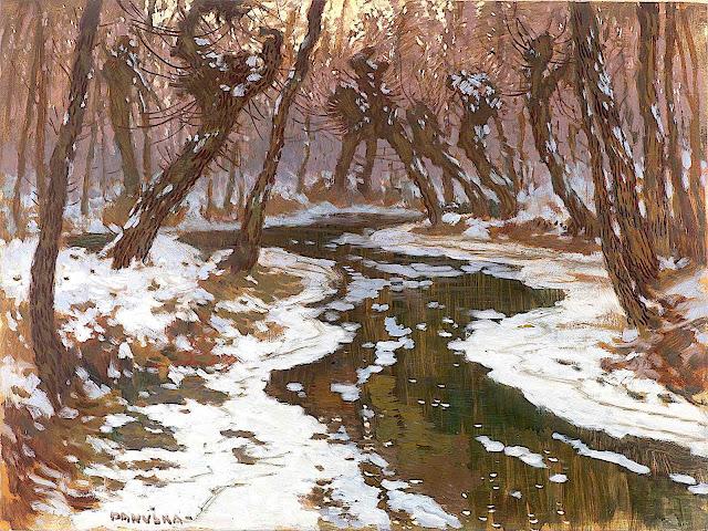 a Jaroslav Panuska painting of a forest stream in winter
