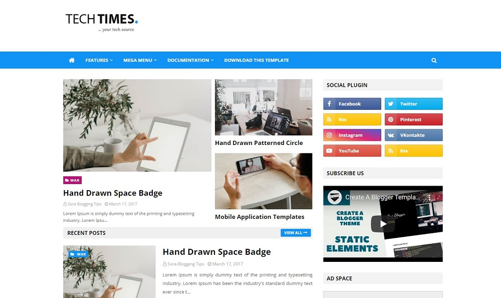 Download TechTimes v1.0 | Free Responsive News and Magazine Blogger Theme