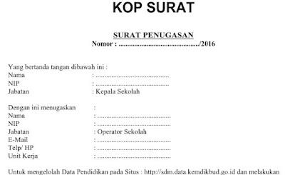 Surat Penugasan SDM NUPTK Verval Calon Baru Tahun 2016
