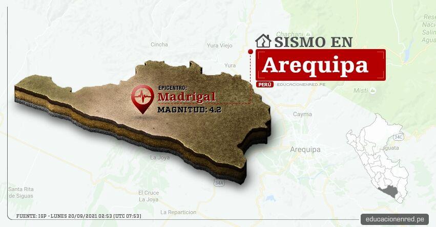 Temblor en Arequipa de Magnitud 4.2 (Hoy Lunes 20 Septiembre 2021) Sismo - Epicentro - Madrigal - Caylloma - IGP - www.igp.gob.pe