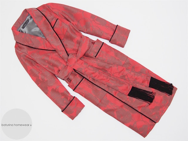 mens dressing gown extra long red black cotton silk traditional gentleman morning lounging robe warm lined luxury
