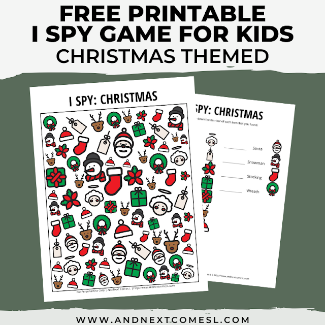 Free I spy game printable for kids: Christmas themed