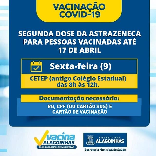 Nesta sexta (9), Alagoinhas investe na aplicação da segunda dose contra o covid-19