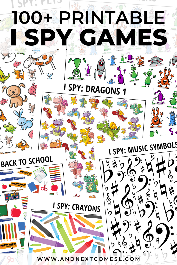 100+ I spy games for kids - including free printable games for every season, occasion, and interest