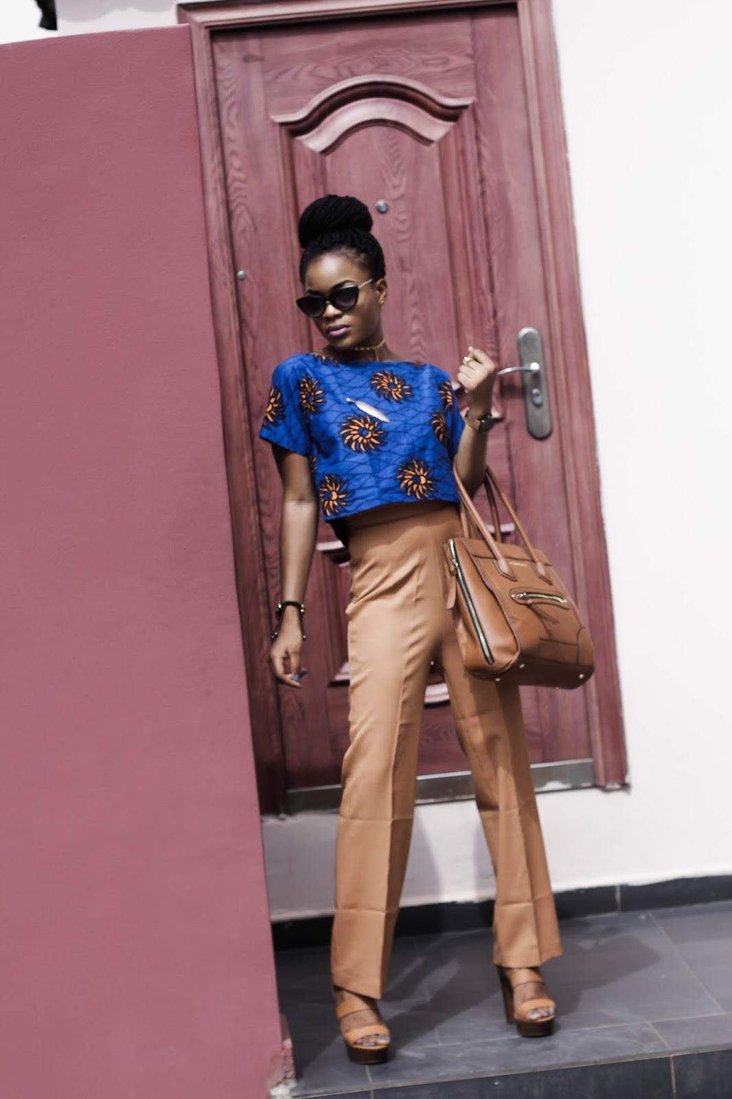 ankara croptop and brown wideleg pant