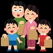 買い物袋を持つ家族のイラスト(紙袋)