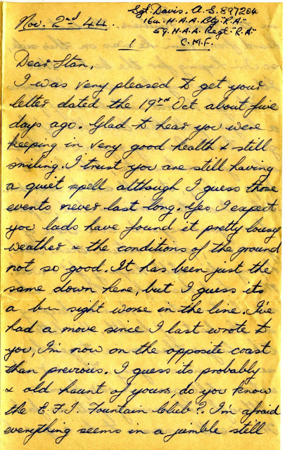 Letter from Alec Davis to Stan Davis - 1944