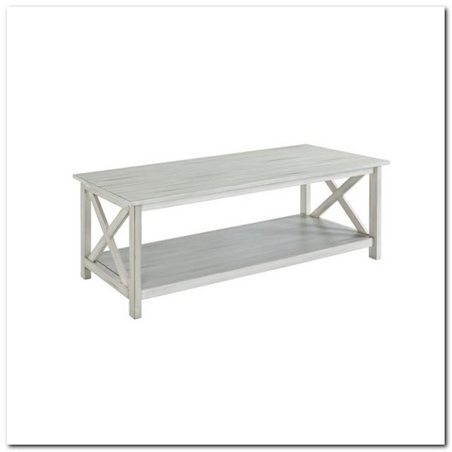 WHITE DISTRESSED WOOD COFFEE TABLE; Distressed White Wood Coffee Table;