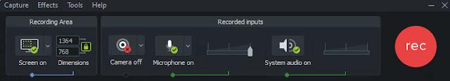 Camtasia record screen options