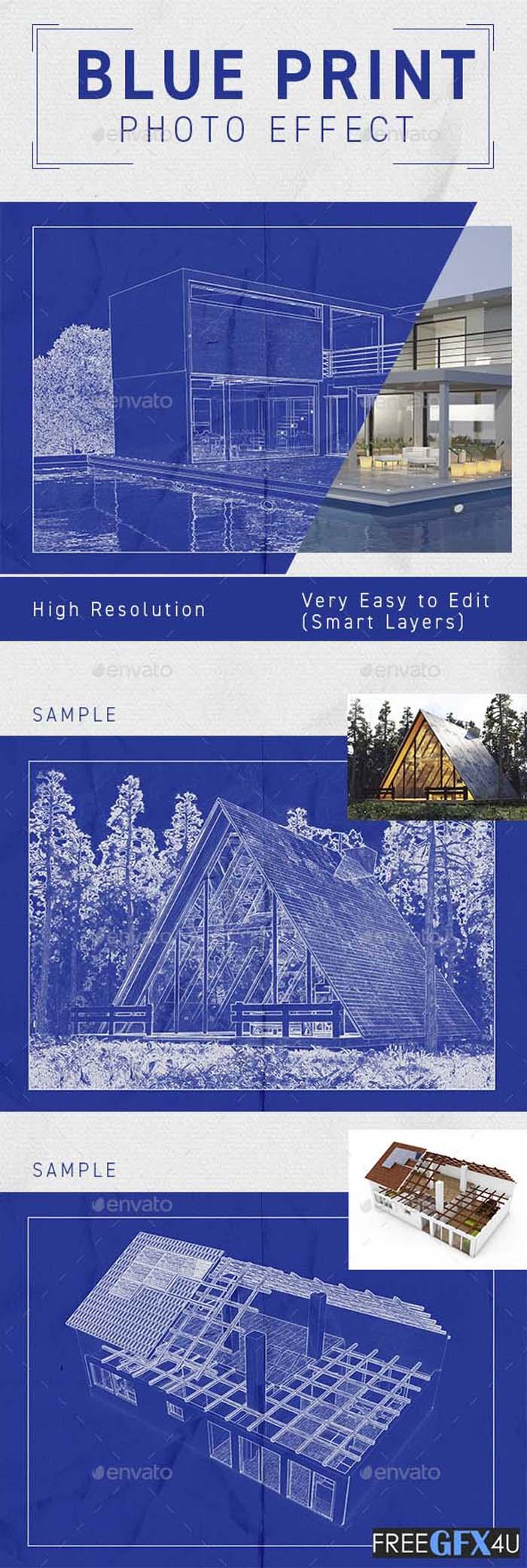 Architect Blueprint Photo Effect