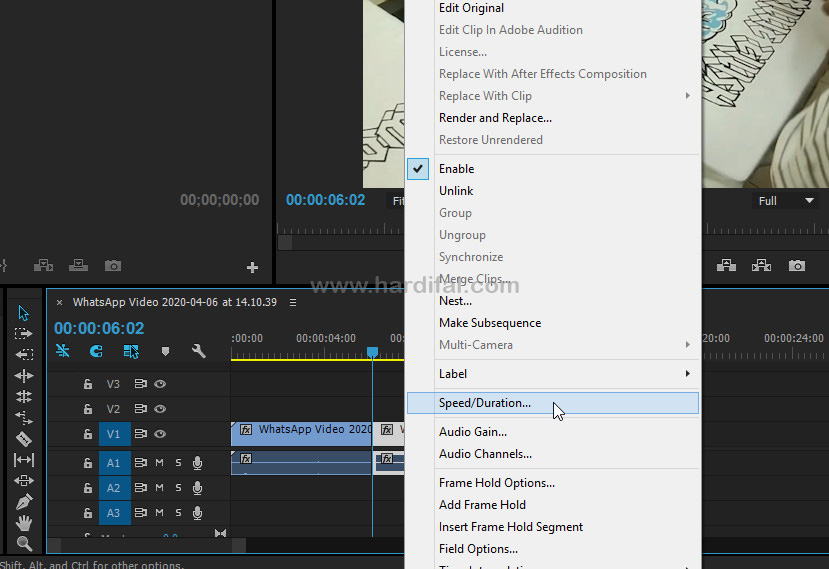 Atur speed/duration di adobe premiere