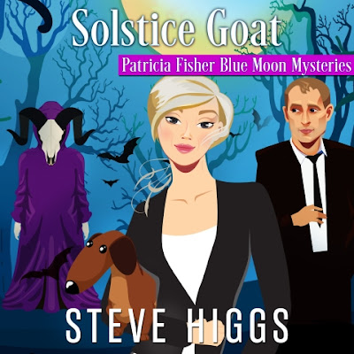 Audiobook cover. Blonde woman in a dark suit stands in the woods with her dachshund. She is flanked by a man in a dark suit and a goat headed figure in a purple robe. Solstice Goat. Patricia Fisher Blue Moon Mysteries. Steve Higgs. Narrated by Maryanne M. Wells.
