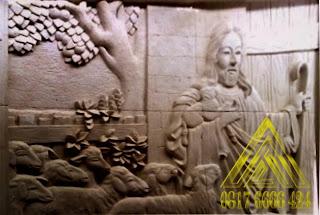 Relief batu alam paras jogja, paras putih gunungkidul motif yesus gembala