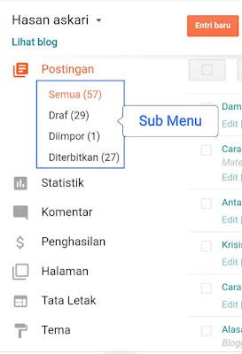 Hasan Askari: Tutorial Blogger Lengkap Menggunakan HP - #5 Mengenal fitur pada menu Postingan gambar 2