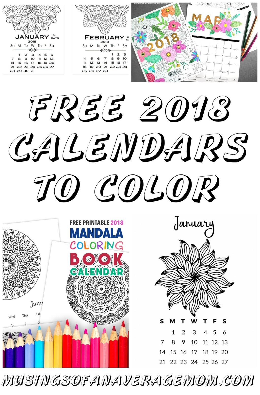 2018 Calendars To Color Get This Free Printable Coloring