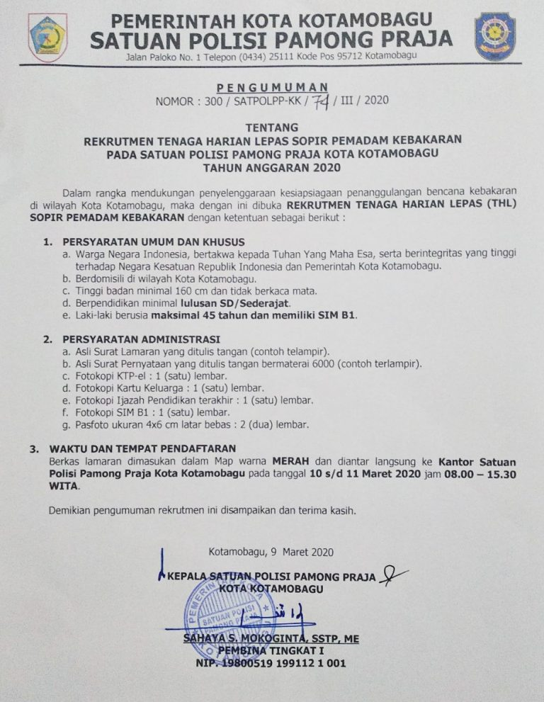 Rekrutmen Tenaga Harian Lepas Satpol-PP dan Damkar Kotamobagu Minimal SD Bulan Maret 2020