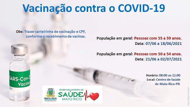 Covid-19: Mato Rico abre vacinação para pessoas com 55 e 59 anos, sem doença preexistente