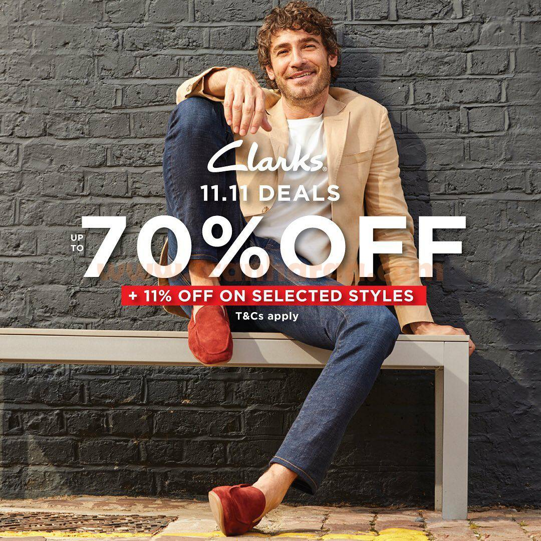 CLARKS Promo 11.11 Deals - Up to 70% off and extra 11% off