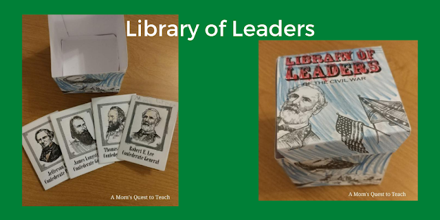 text: Library of Leaders; leaders mini books and library of leaders box