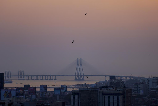 skywatch, bandra, bridge, sealink, bwsl, evening, india, birds, buildings, arabian sea, sky, dusk,