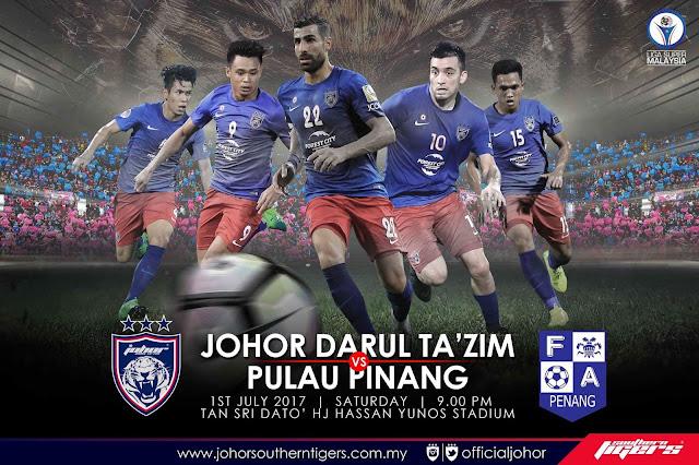 Live Streaming JDT vs Pulau Pinang 1 Julai 2017 Liga Super