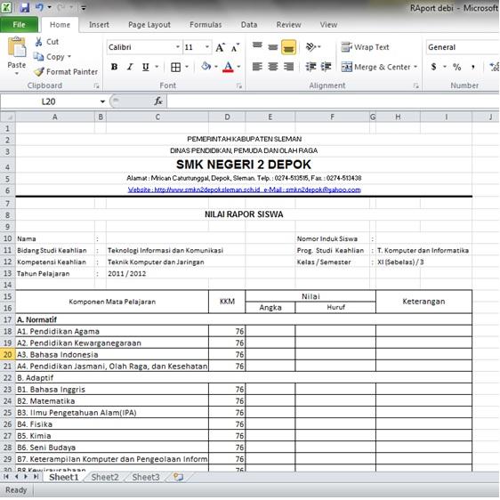 Form Nilai Untuk Raport Excel