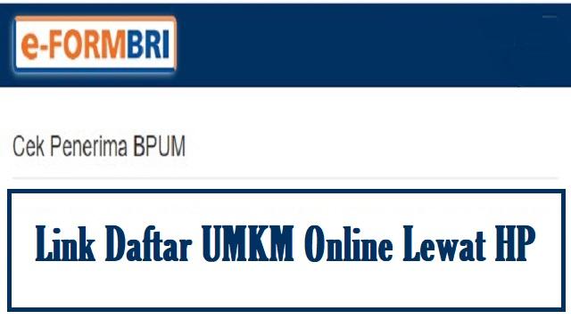 Link Daftar UMKM Online Lewat HP