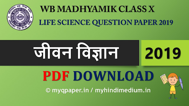 West Bengal Board Madhyamik Question Paper in Hindi Class 10