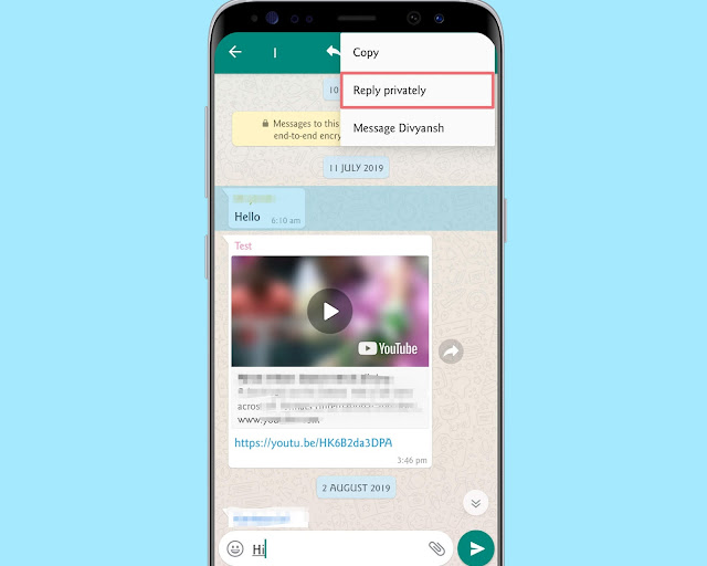 Reply Privately - WhatsApp tricks
