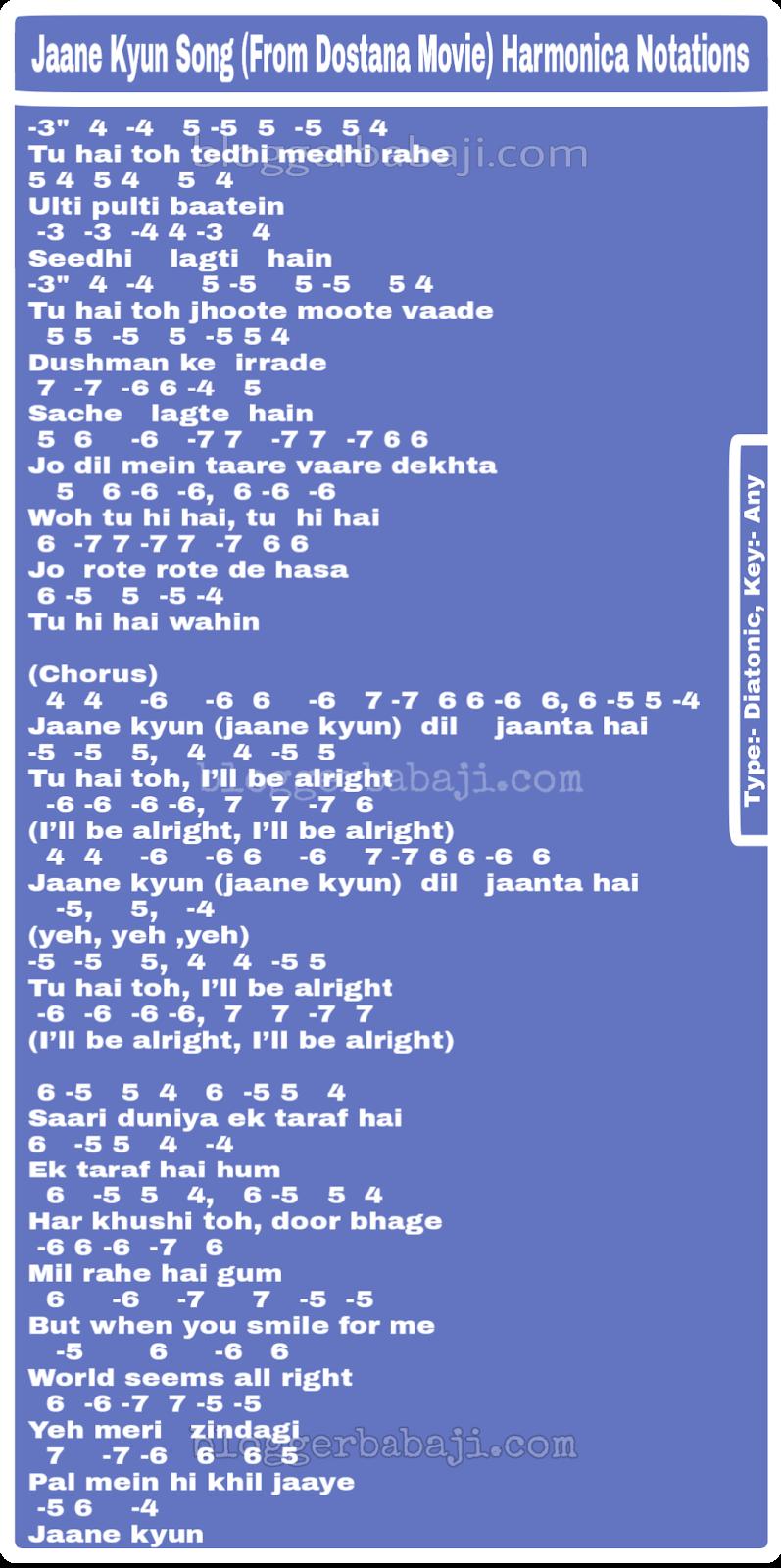 Bollywood Song Harmonica Notations Hindi Jaane Kyun Song Vaaste song dhvani bhanushali, piano tutorial step by step with notes, how to play vaaste song on piano सीखो सरल के. bollywood song harmonica notations