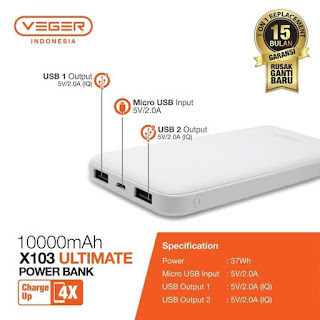 Power Bank VEGER Utimate Slim X103 10000mAh Dual Port USB Output 2.0A