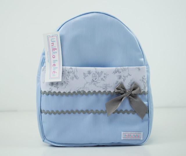 mochila colegio toile de jouy celeste gris