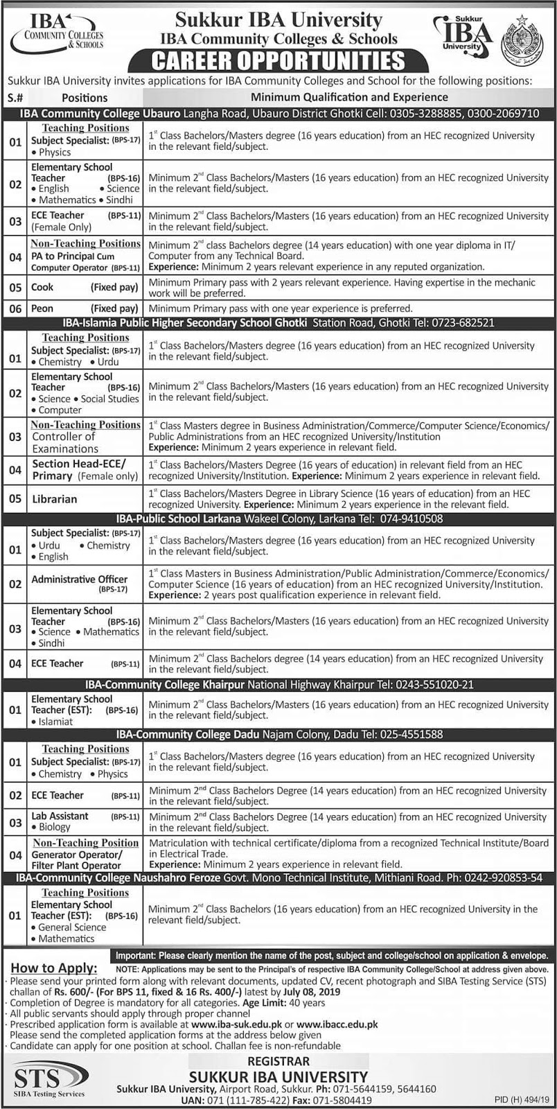 IBA Community Colleges Jobs For Subject Specialist (BPS-17)